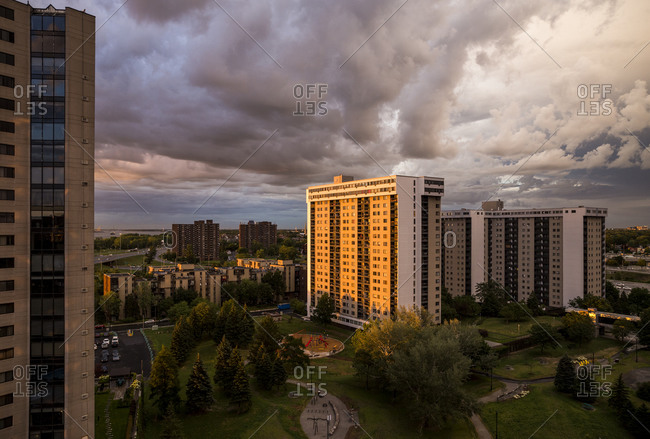Dramatic sunset light over condominiums in Longueuil, QC, Canada