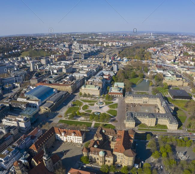 Aerial view sunny Stuttgart cityscape, Baden-Wuerttemberg, Germany