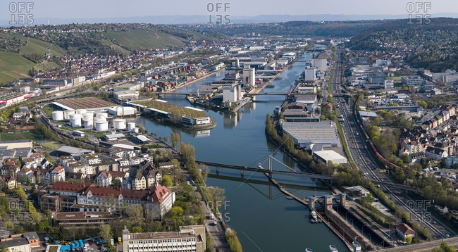 Sunny scenic aerial Stuttgart cityscape and Rhine River, Baden-Wuerttemberg, Germany