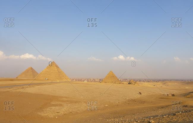 Sunny scenic view of Giza pyramid complex, Cairo, Egypt