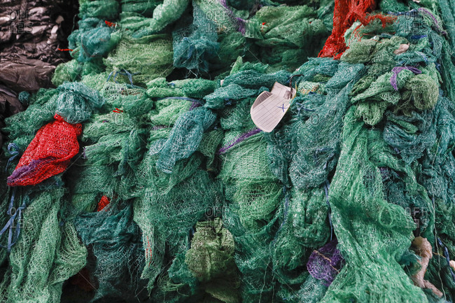 Green recycling nets, top view