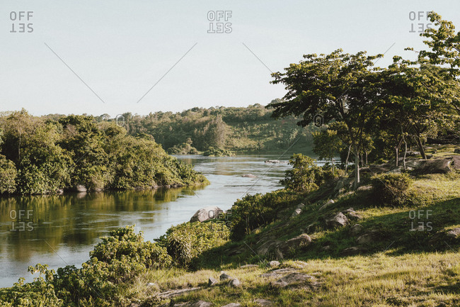 Sunny scenic view of Nile River, Ginger, Uganda