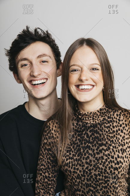 Portrait of happy brother and sister