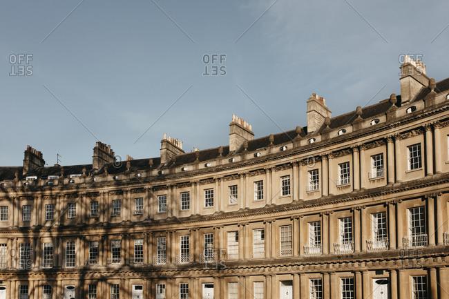 Sunny curved building, Bath, Somerset, UK