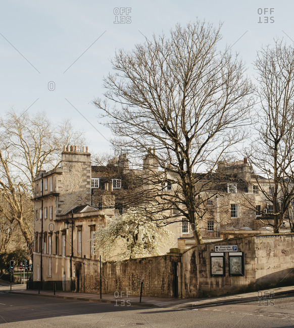 Sunny buildings and bare trees, Bath, Somerset, UK
