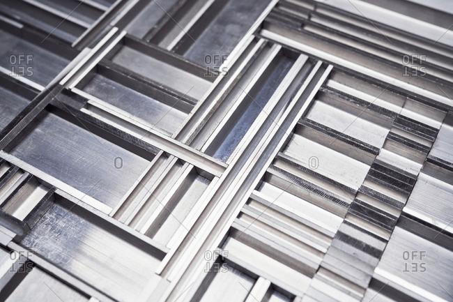 Textured aluminum pattern, close up