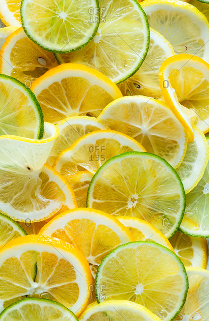 Lemon and lime slices close up