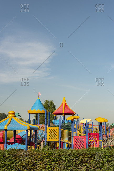 Colorful playground equipment at a park