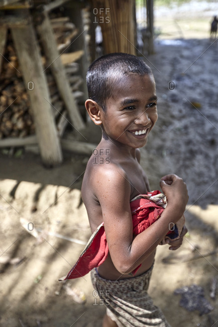 Bandarban, Bangladesh - May 7, 2013: Portrait of a child in the Marma Tribe in the highland valleys of Chittagong Hill Tracts