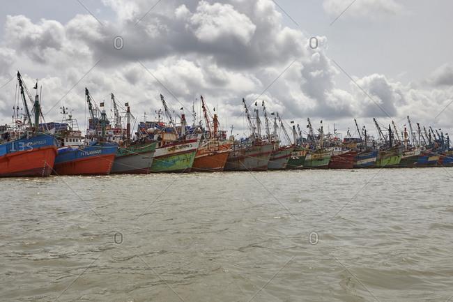 Chittagong, Bangladesh - May 11, 2013: Old ships anchored at River Karnaphuli in the Chittagong Hill Tracts