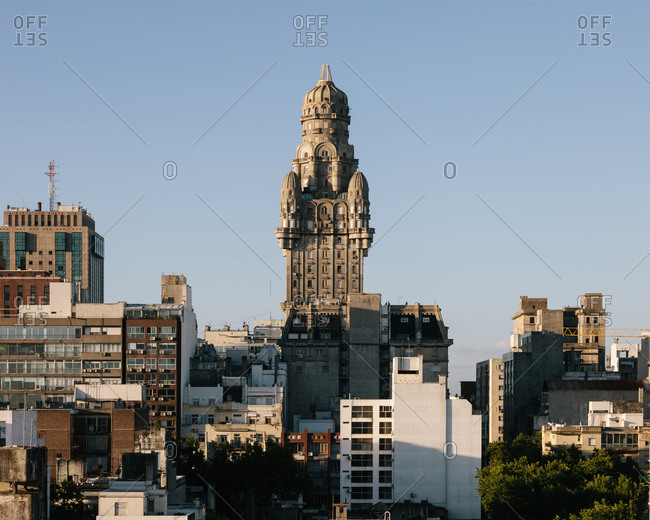 Palacio Salvo in the Old Town area of Montevideo viewed from Plaza Independencia in Uruguay