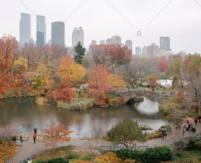 New York City, New York - November 25, 2016: Panoramic view of the Pond and Gapstow Bridge at Central Park with beautiful fall foliage and Manhattan skyline in the background