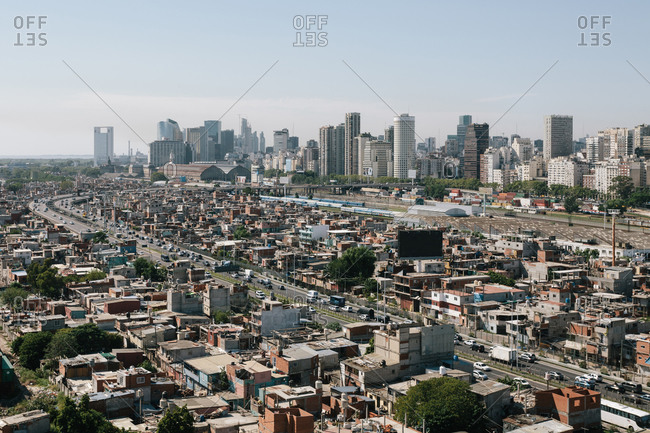 Buenos Aires, Argentina - January 11, 2018: Aerial view of the Barrio 31 settlement in the Retiro neighborhood of Buenos Aires