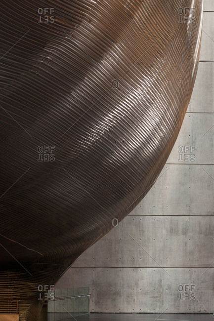 Buenos Aires, Argentina - December 16, 2018: Detail of Ballena Azul concert hall metallic mesh covering inside Centro Cultural Kirchner