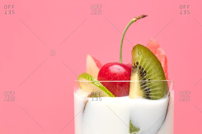 Close up of yogurt parfait