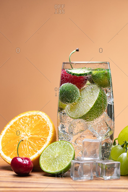 Fruity refreshing drink with bubbles