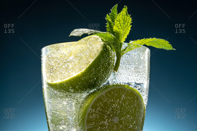 Refreshing bubbly soda with lime