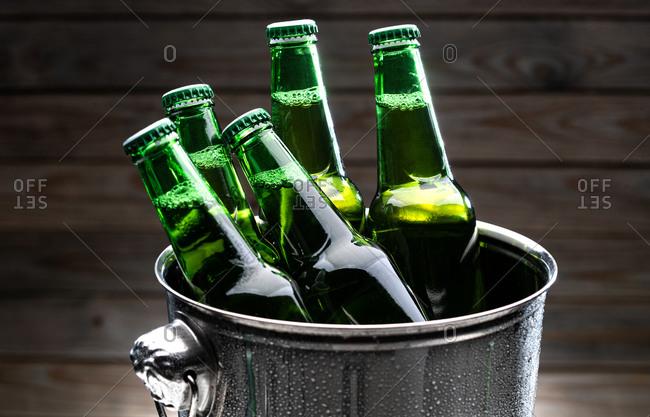 A bucket of bottled beer
