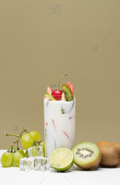 Fruit cup of yogurt and fruit