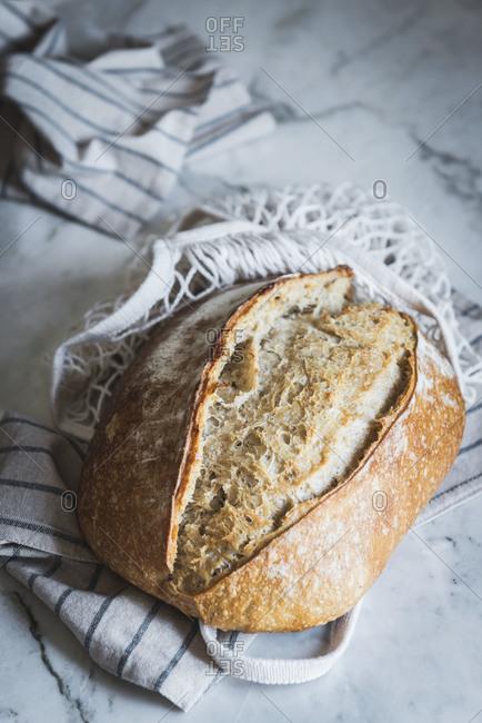 Closeup of a loaf of bread