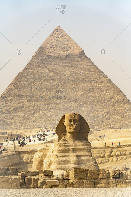 Tourists come to visit the pyramids of Giza, Egypt