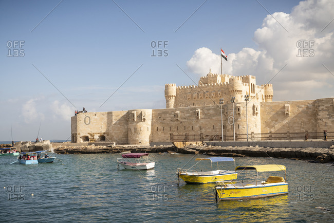 Alexandria, Alexandria Governorate, Egypt - December 22, 2017: Along the boat harbor in Alexandria, Egypt