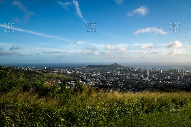 View of Diamond Head and Honolulu, Hawaii from a mountaintop