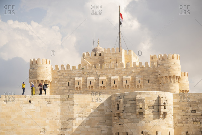 Alexandria, Alexandria Governorate, Egypt - December 22, 2017: Tourists visit a castle in Alexandria, Egypt