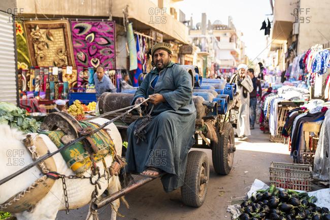 Luxor, Luxor Governorate, Egypt - December 24, 2017: Egyptian man drives horse cart through open market