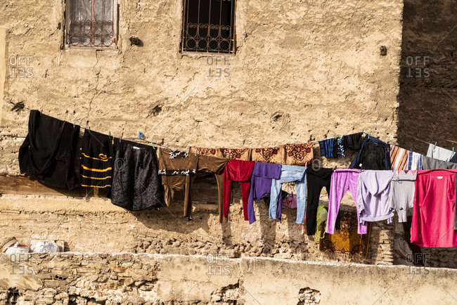 Clothing line of laundry in Fez, Morocco