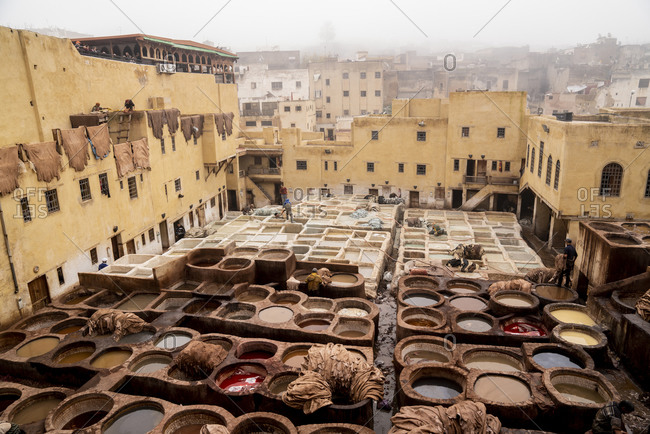 Fes, Fez-Meknes, Morocco - December 31, 2017: View of leather tannery in fez, Morocco