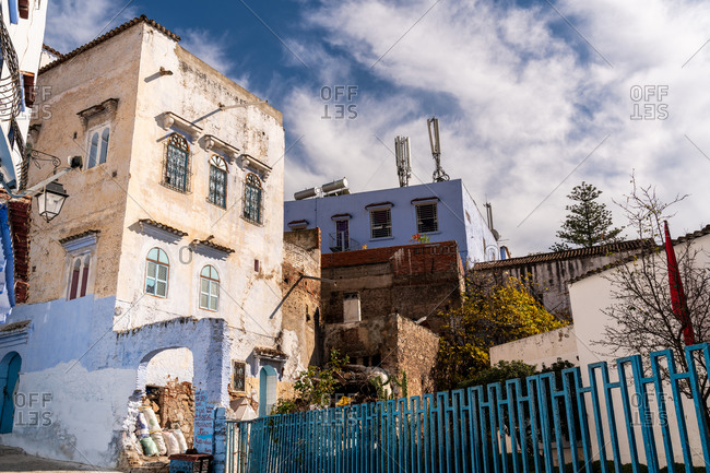 Chefchaouen, Tangier-Tetouan-Al Hoceima, Morocco - January 1, 2018: Old street in blue city of Chefchaouen, Morocco