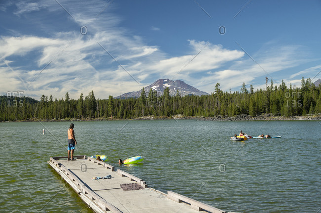Bend, OR, United States - August 19, 2020: Lava Lake and South Sister