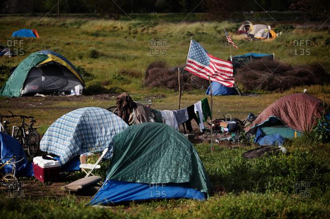 Sacramento, CA, United States - April 8, 2009: Homeless Tent City in Sacramento