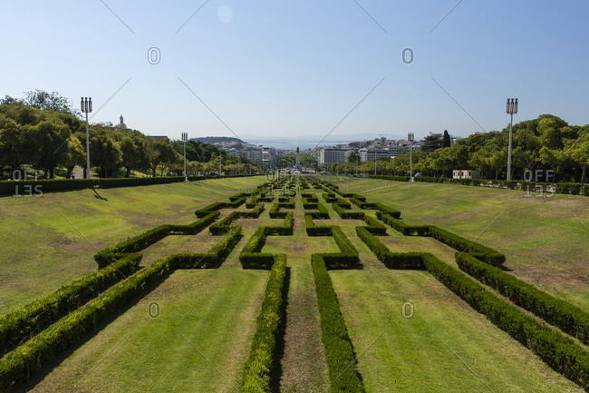 Lisbon, Lisbon, Portugal - August 5, 2020: Beautiful view to green area in Eduardo VII Park
