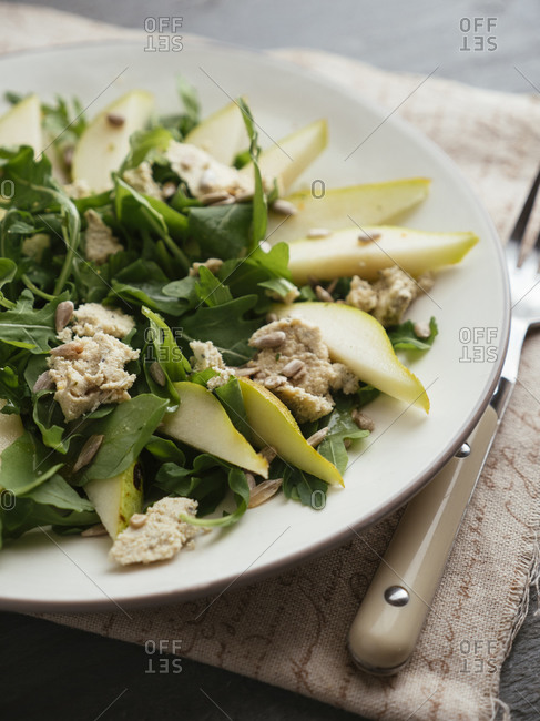 Pear and Arugula Salad with Home Made Vegan Feta