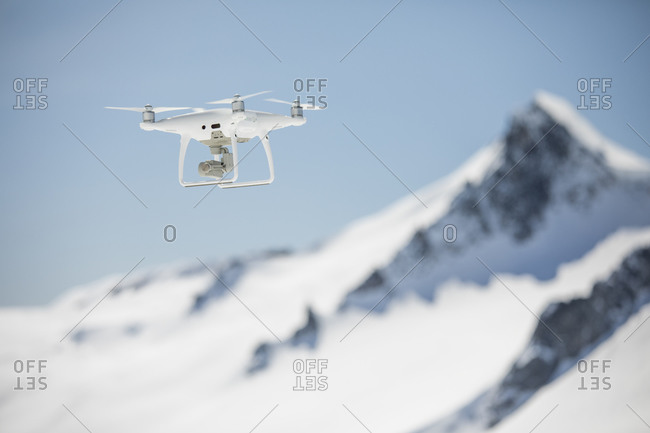 Aerial drone fling in high altitude mountain range.