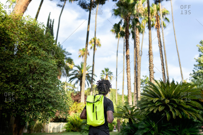 Back view of confident young African American male athlete with backpack in trendy sportswear in park with green tropical trees
