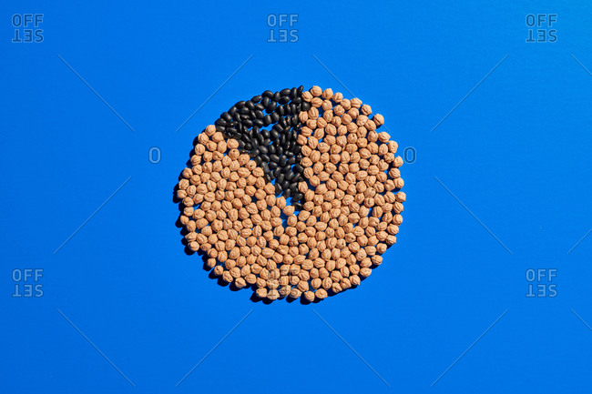 Top view of grain placed on blue table in shape of pie chart showing ratios in percentage