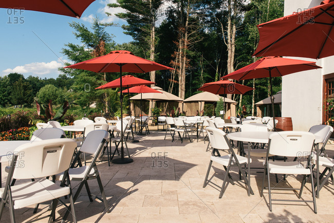 Hollis, NH, United States - July 29, 2020: Dozens of seats and patio tables set up for outdoor dining and tasting