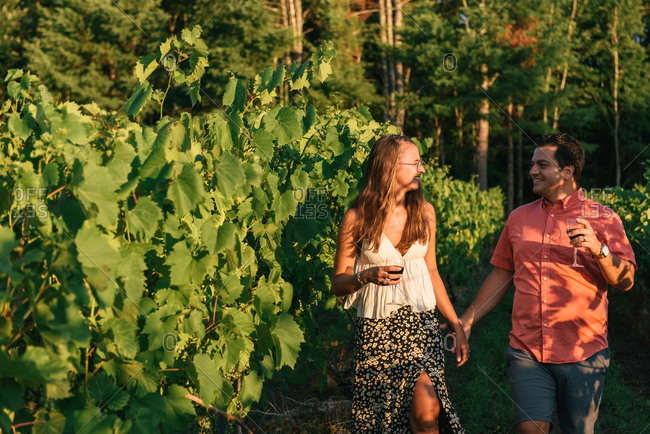 Couple strolling through the vineyards arm in arm at sunset