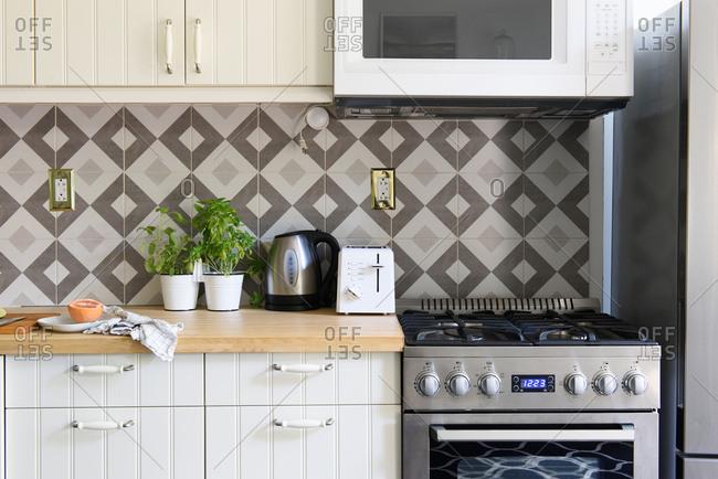 Vignette of a modern renovation of an apartment kitchen