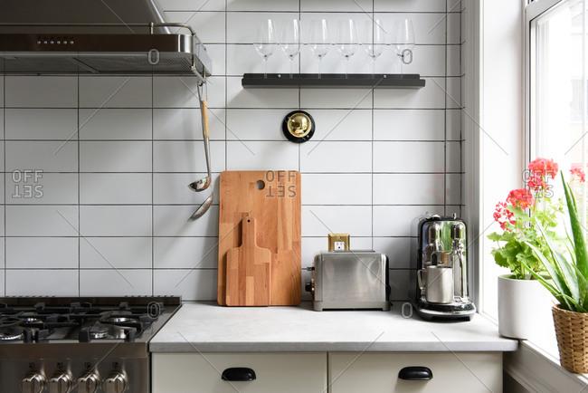 Breakfast bar counter top in stylish modern home kitchen