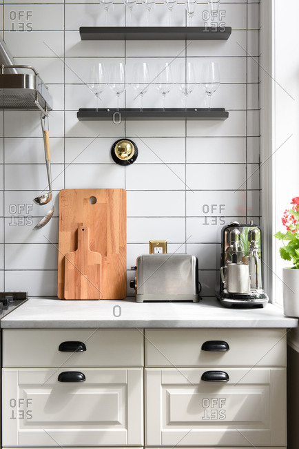 Close up still life of a modern kitchen counter top with appliances