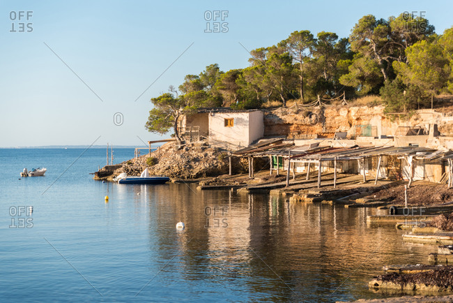 Picturesque scenery of cove near sea with rocky shore and trees under blue sky in Sa Caleta