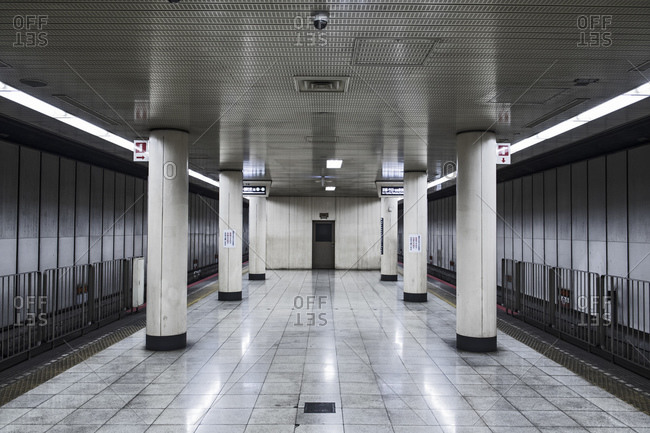 Osaka, Osaka, Japan - September 23, 2016: Empty platform at subway station in Osaka