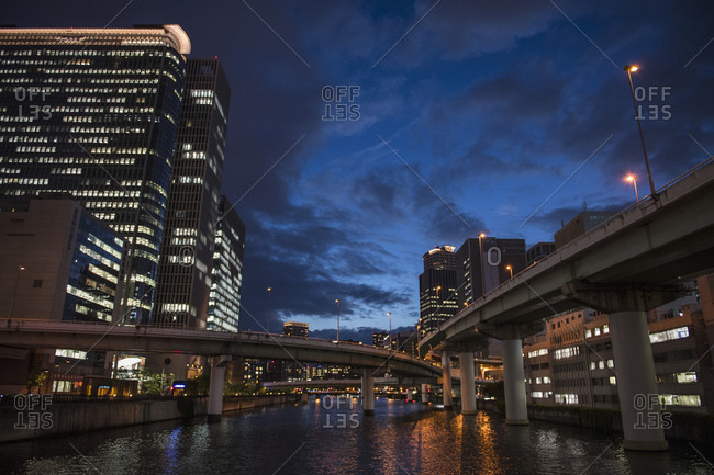 Elevated highways in downtown Osaka / Japan