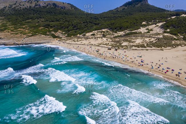 Spain- Mallorca- Cala Mesquida- Aerial view of Cala Agulla beach in summer