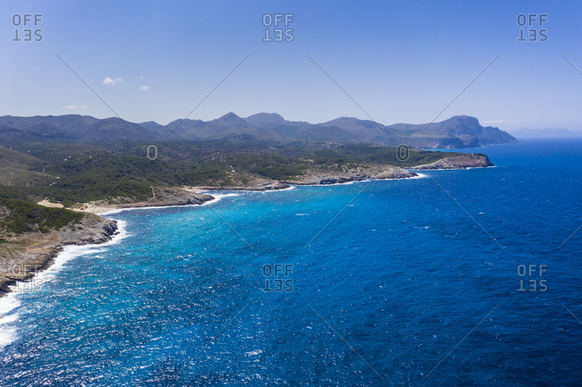 Aerial view of coastline of Mallorca in summer