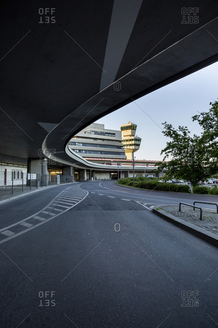 May 31, 2020: Germany- Berlin- Overpass and empty asphalt road of Berlin Tegel Airport during COVID-19 lockdown